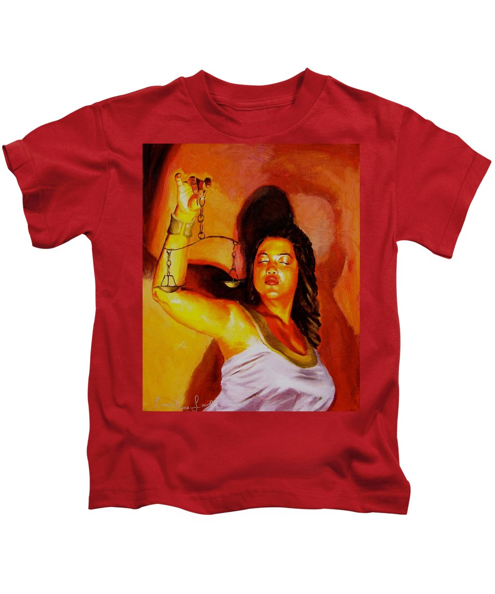 Law Art Kids T-Shirt featuring the painting Latina Lady Justice by Laura Pierre-Louis