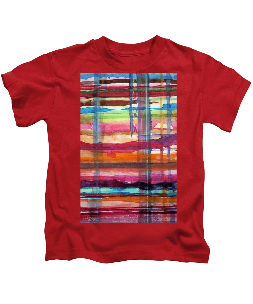 Abstract Kids T-Shirt featuring the painting Layered by Suzanne Udell Levinger
