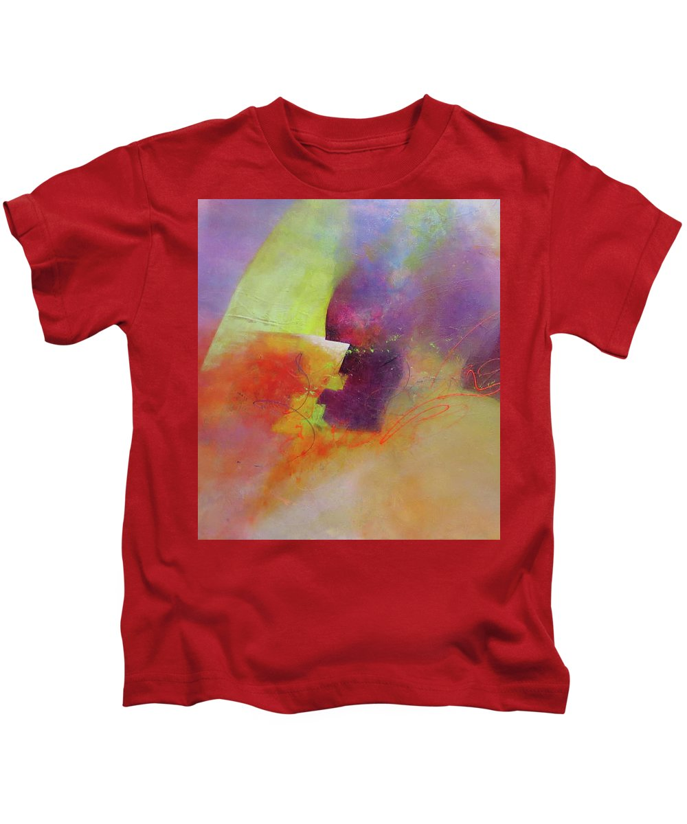 Abstract Kids T-Shirt featuring the painting Leap Of Faith by Cecilia Swatton