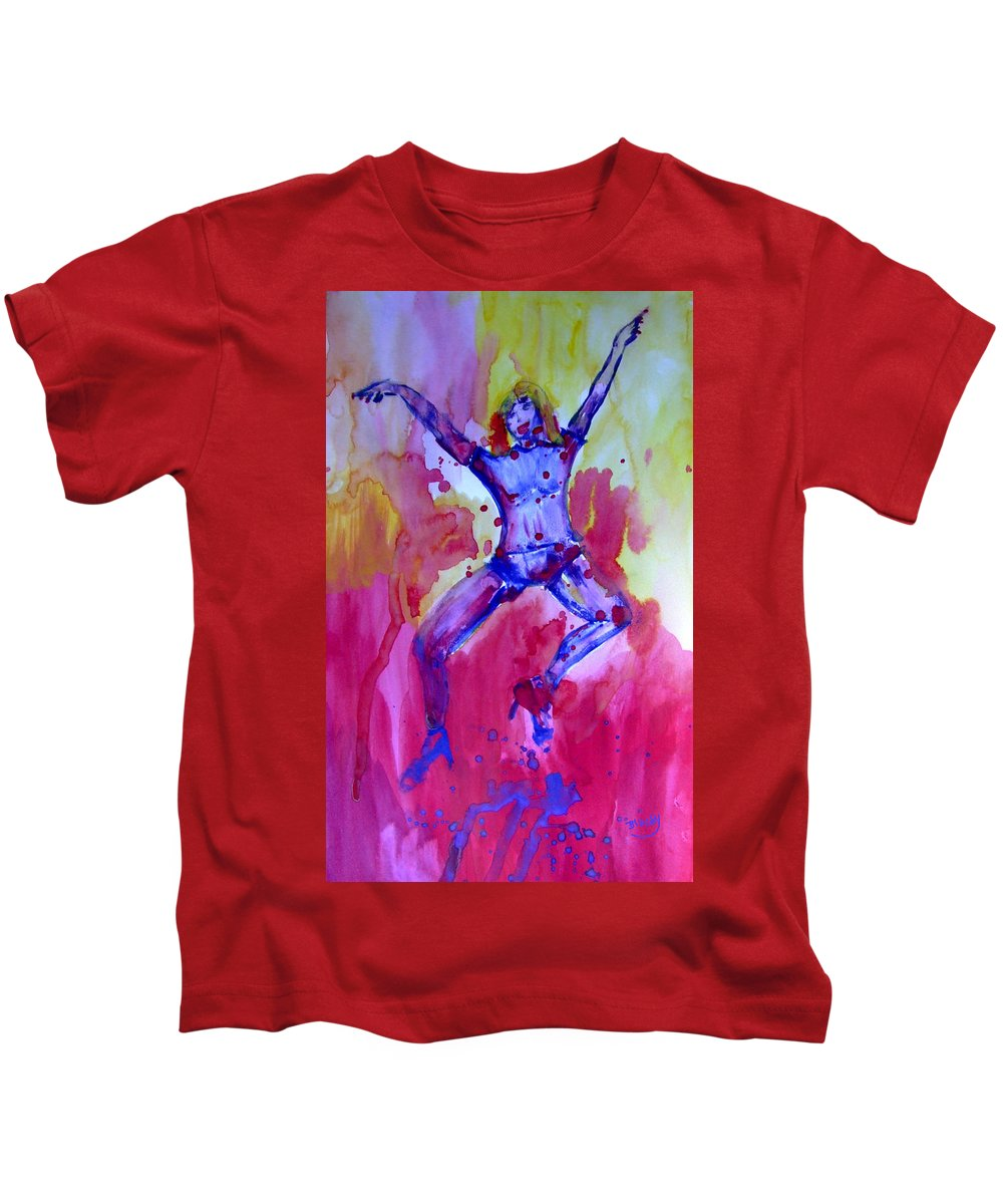 Red Kids T-Shirt featuring the painting Leap Of Faith by Donna Blackhall