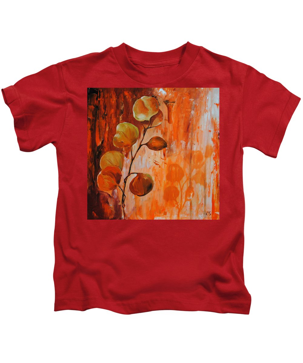 Leaves Kids T-Shirt featuring the painting Leaves1 by Chris Steinken