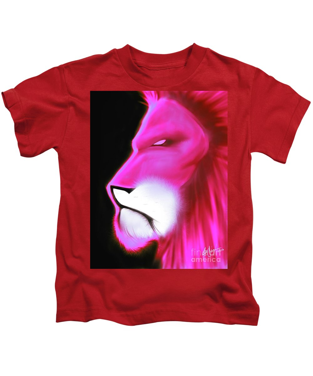 Kids T-Shirt featuring the drawing Leo Profile- Radiant Hot Pink by Javon Dixon
