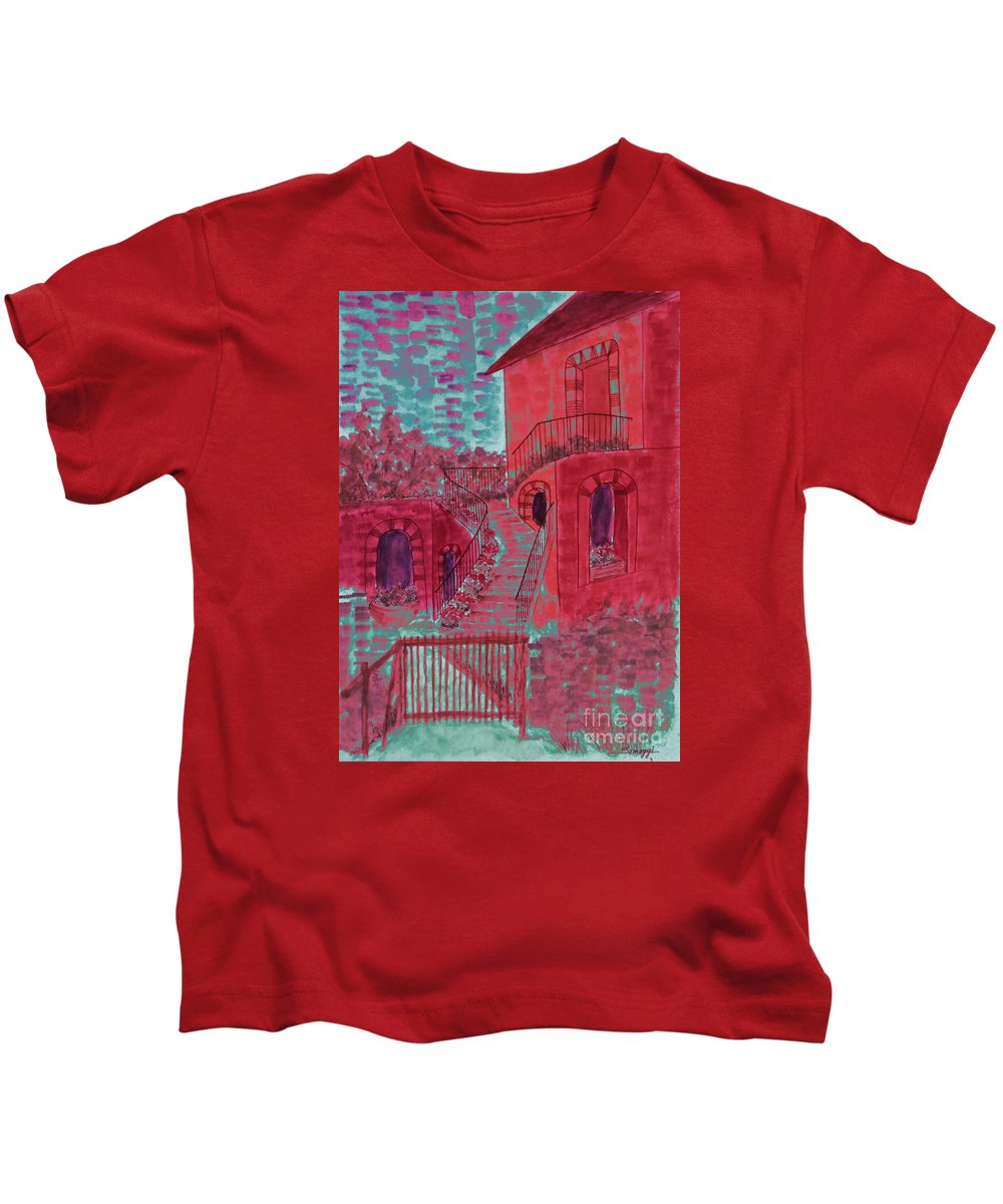 Architecture Kids T-Shirt featuring the painting Let Them Eat Cherry Cake #2 by Jayne Somogy