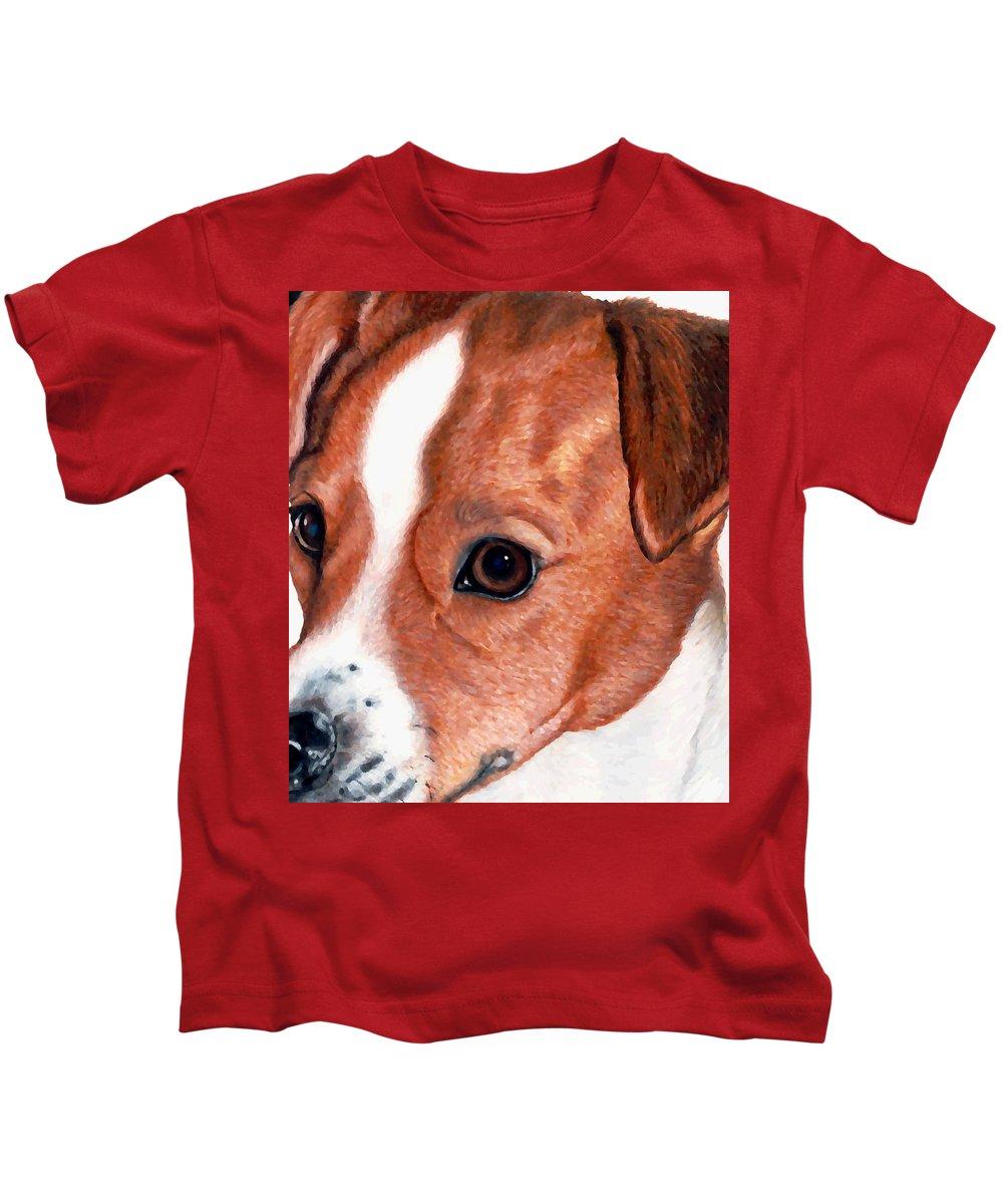 Jack Russell Terrier Kids T-Shirt featuring the drawing Lewie by Kristen Wesch