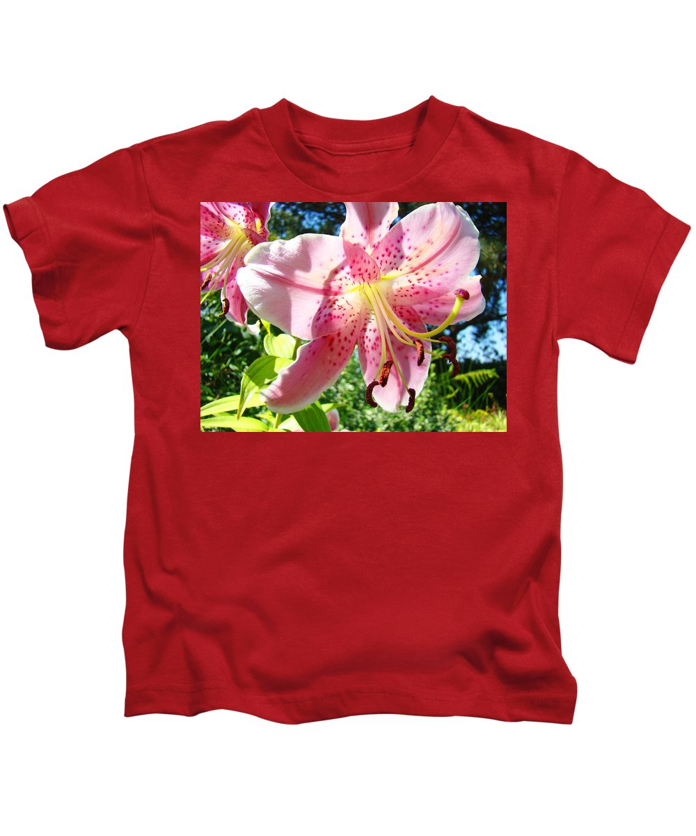 Lilies Kids T-Shirt featuring the photograph Lilies Art Prints Pink Lily Flowers 2 Giclee Prints Baslee Troutman by Baslee Troutman