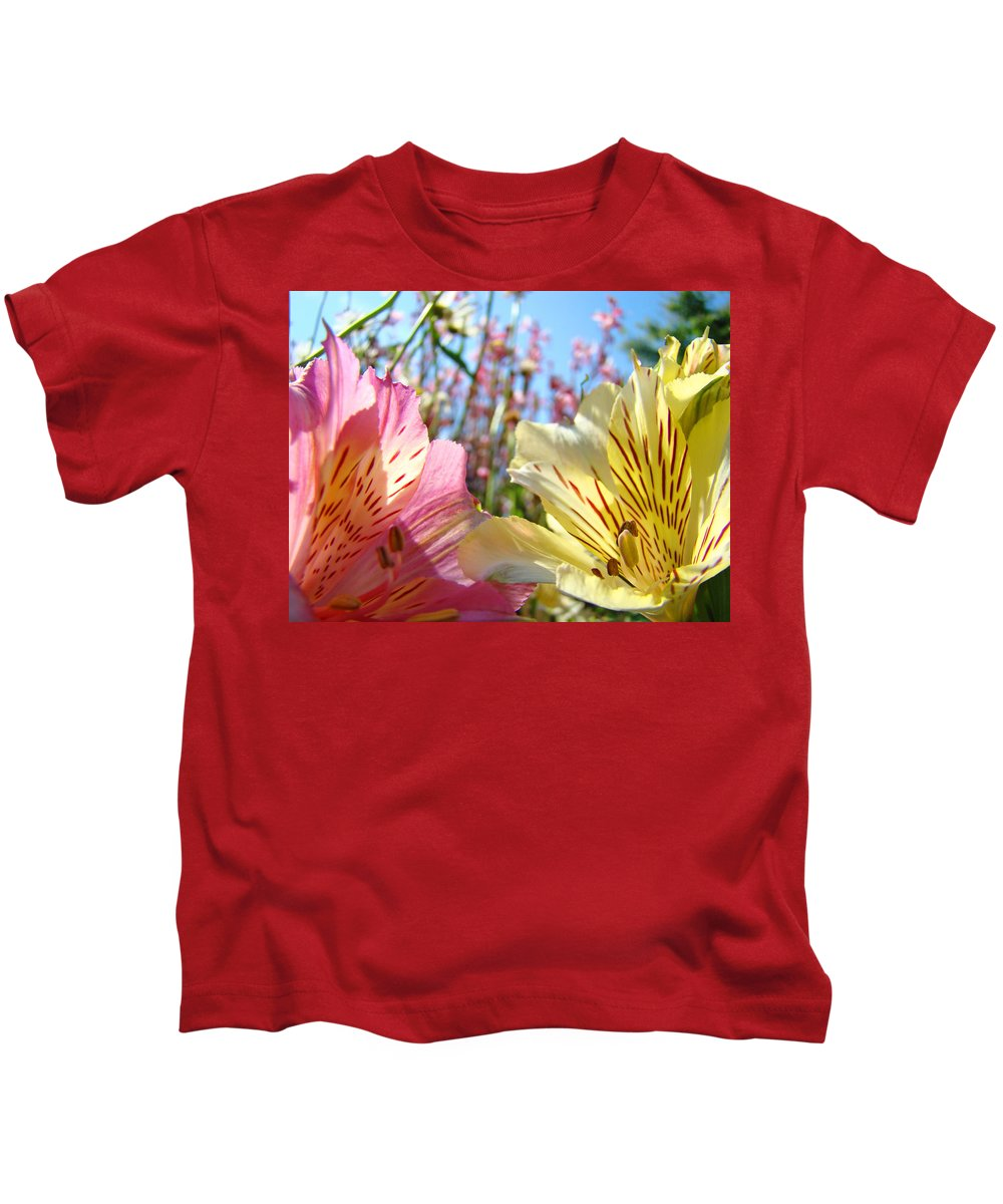Lilies Kids T-Shirt featuring the photograph Lilies Pink Yellow Lily Flowers Canvas Art Prints Baslee Troutman by Baslee Troutman