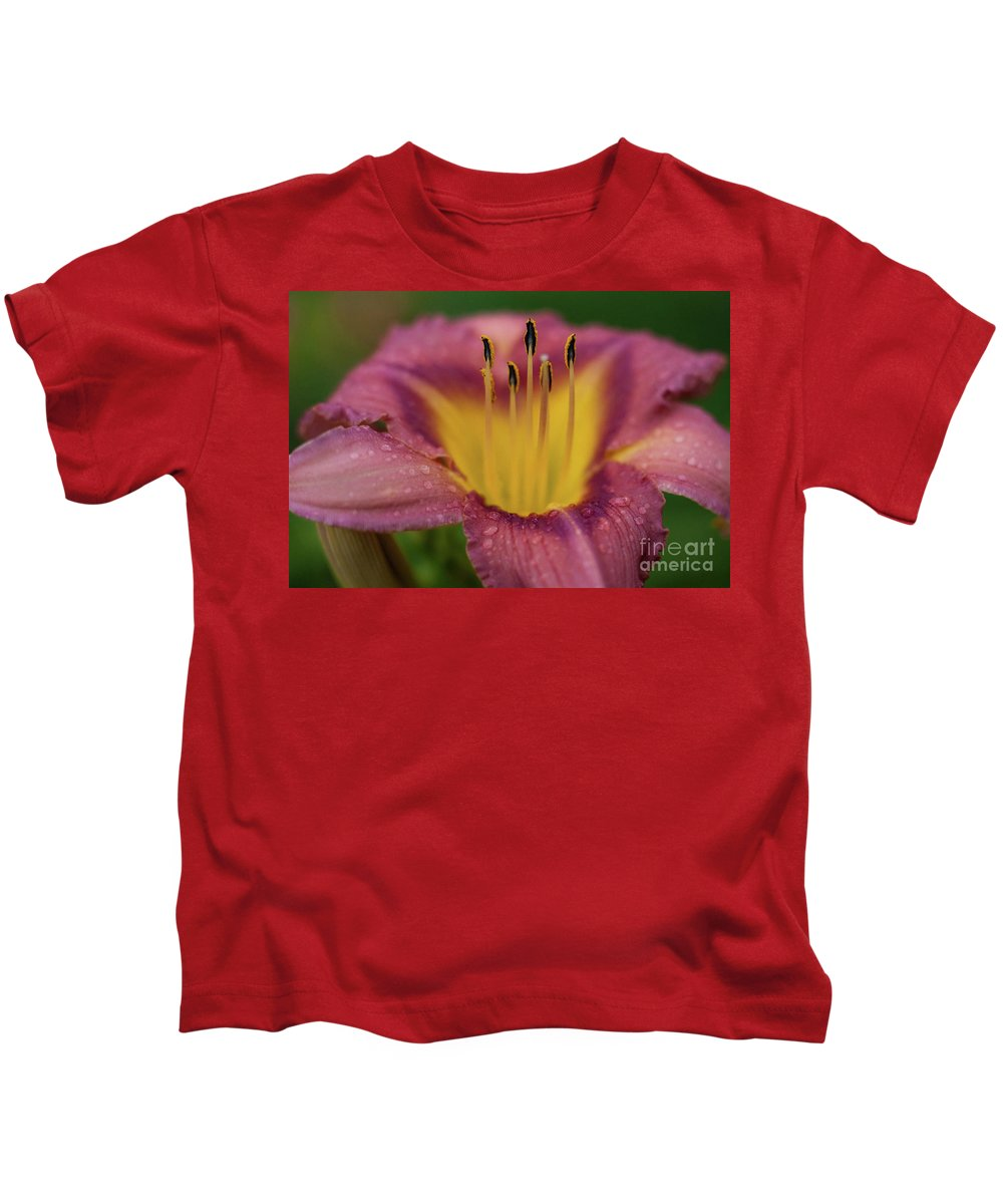 Arrangement Kids T-Shirt featuring the photograph Lily Bloom Close Up by Alan Look