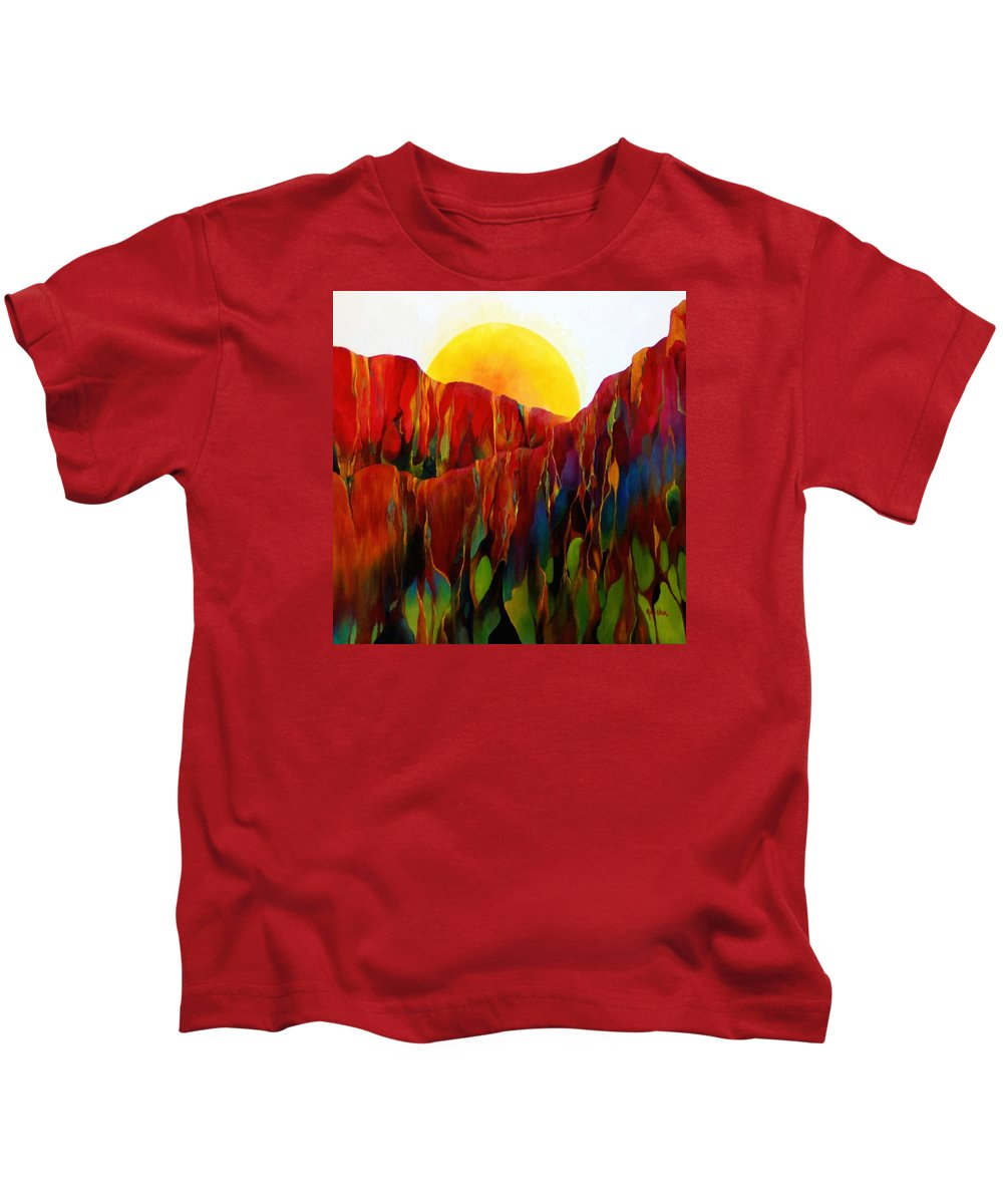 Oil Kids T-Shirt featuring the painting Living Earth by Peggy Guichu
