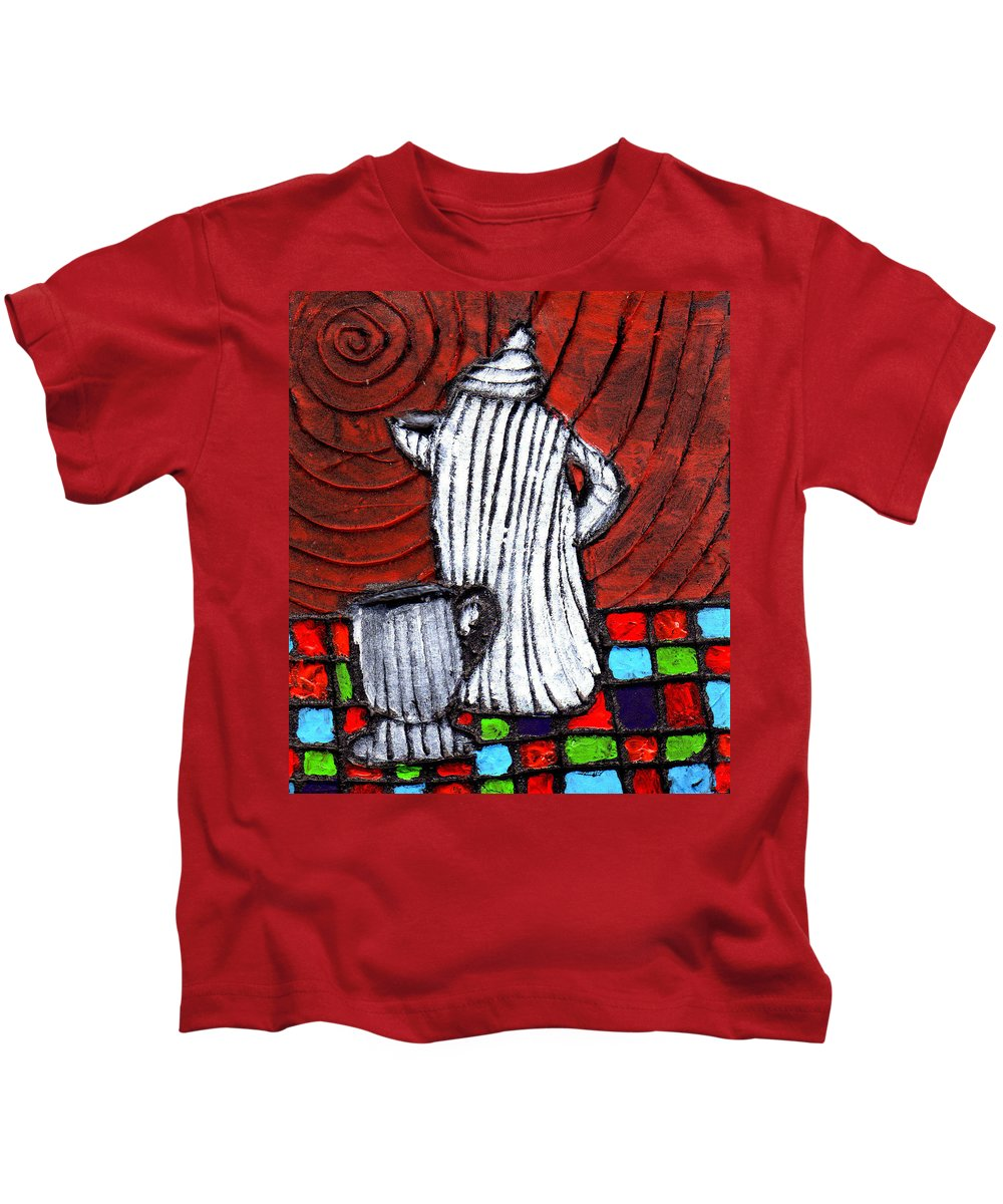 Tea Kids T-Shirt featuring the painting Looking For Something Hot by Wayne Potrafka