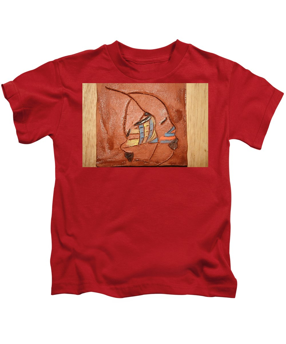 Jesus Kids T-Shirt featuring the ceramic art Looking Glass - Tile by Gloria Ssali