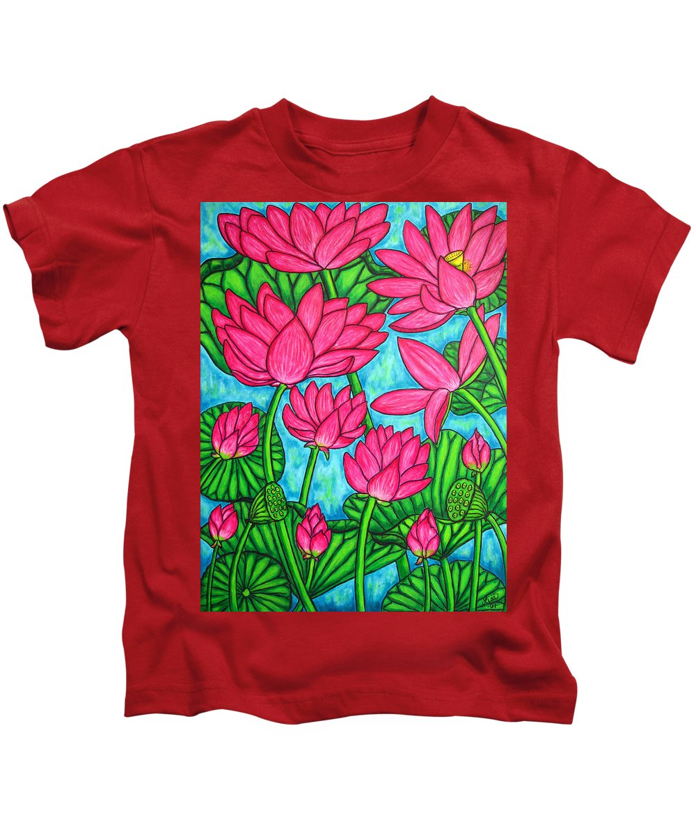 Kids T-Shirt featuring the painting Lotus Bliss by Lisa Lorenz