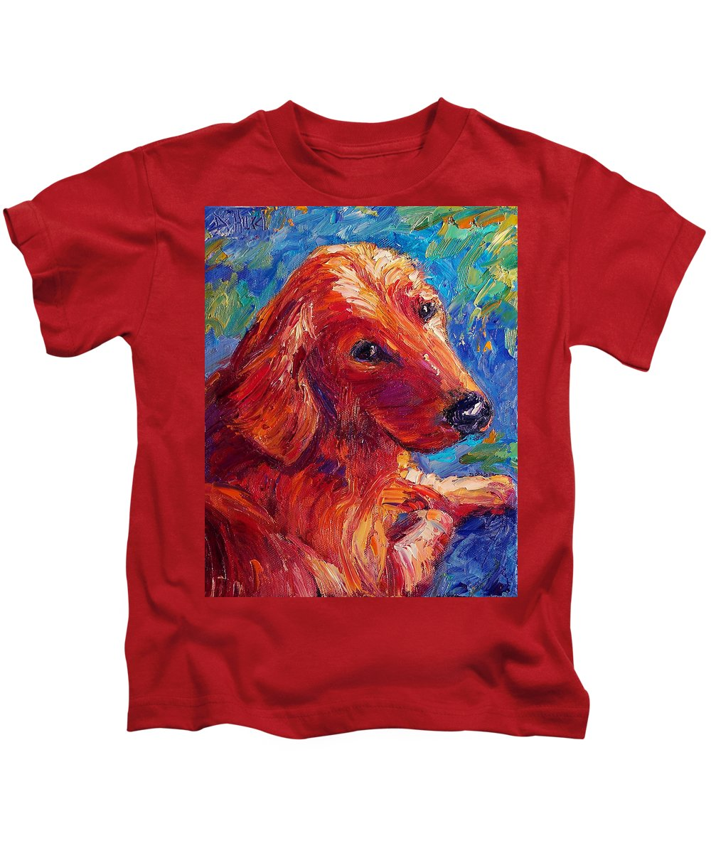 Dog Kids T-Shirt featuring the painting Lovable by Debra Hurd