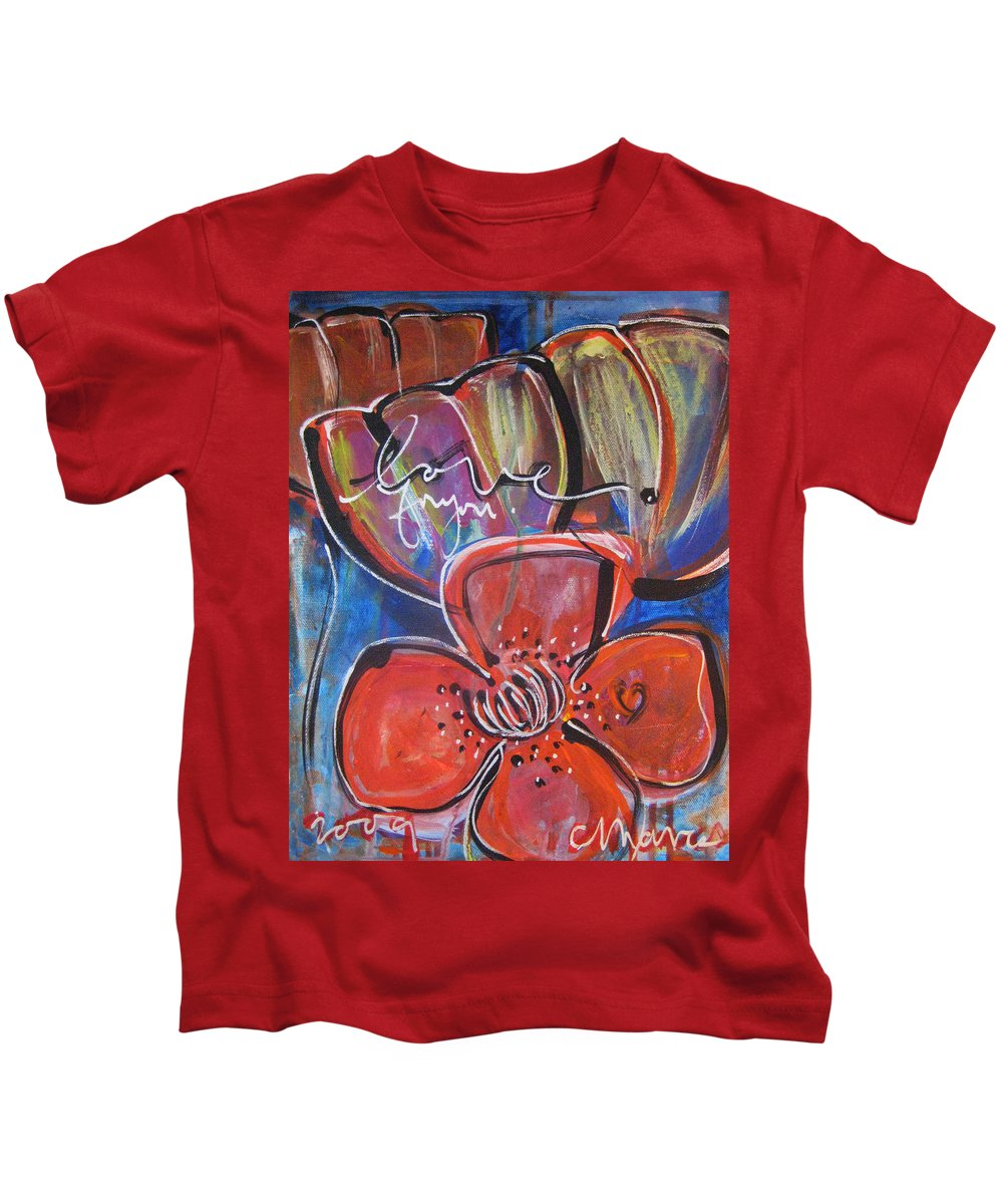 Poppies Kids T-Shirt featuring the painting Love For You No.1 by Laurie Maves ART