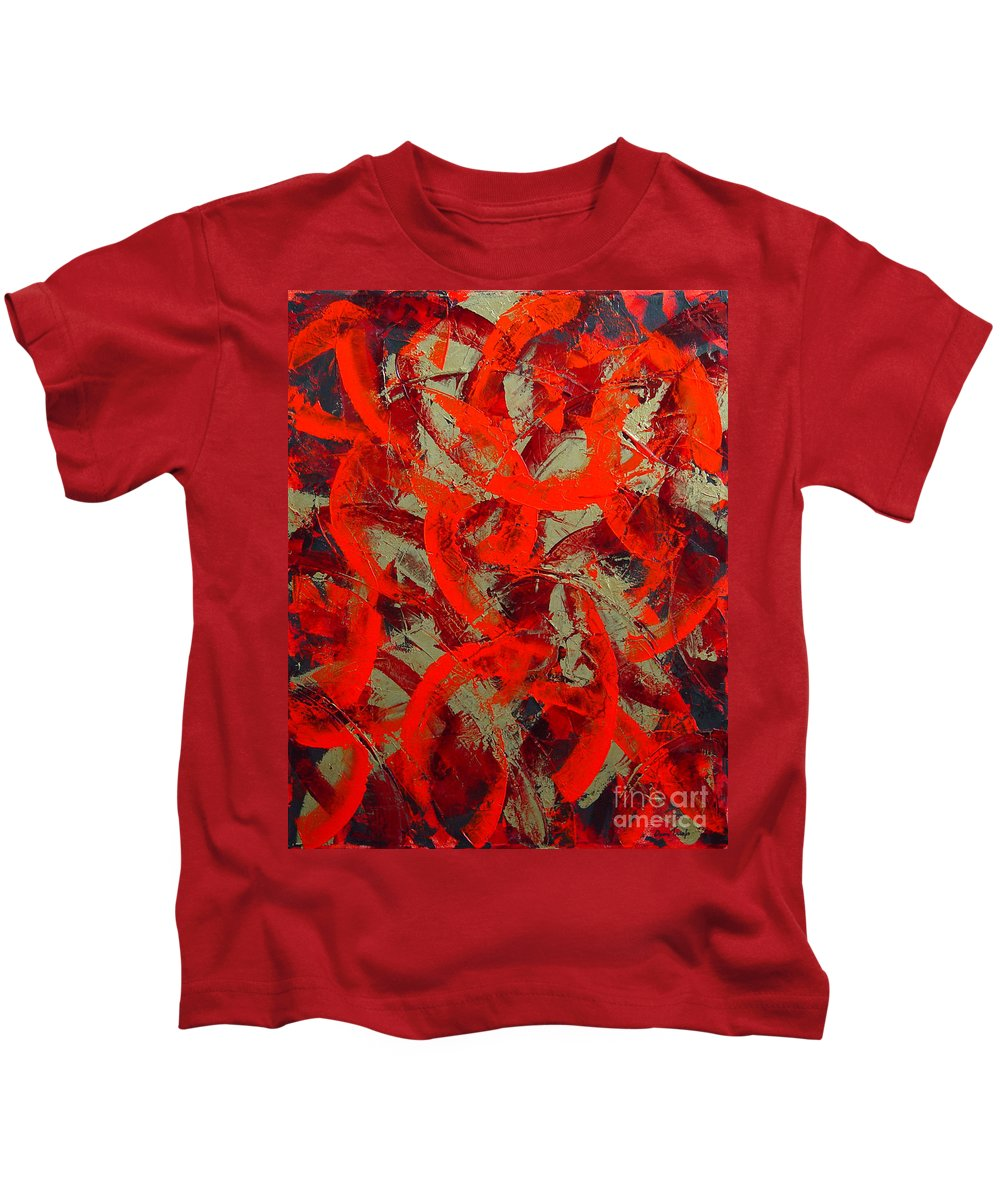 Abstract Kids T-Shirt featuring the painting Love Trails by Dean Triolo