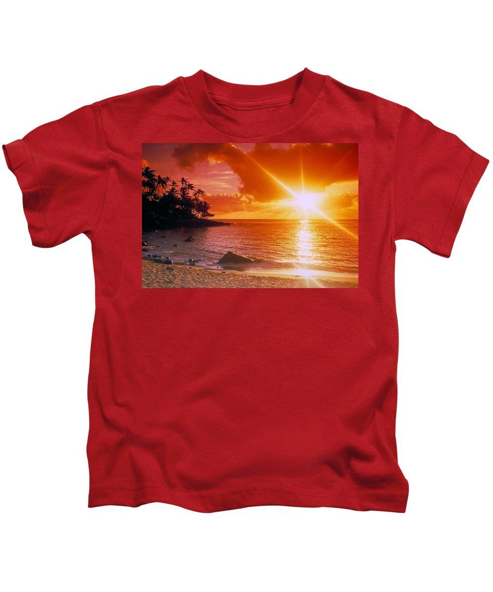 Sunset Kids T-Shirt featuring the photograph Lumahai Beach Sunset by Marie Hicks