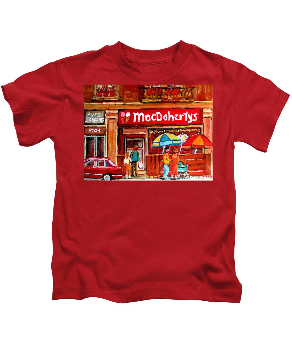 Macdohertys Kids T-Shirt featuring the painting Macdohertys Icecream Parlor by Carole Spandau