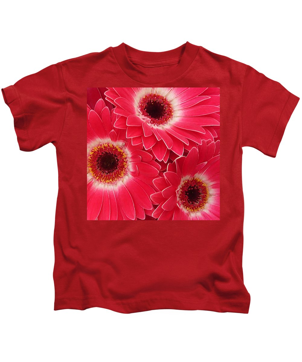 Daisy Kids T-Shirt featuring the painting Magenta Gerber Daisies by Amy Vangsgard