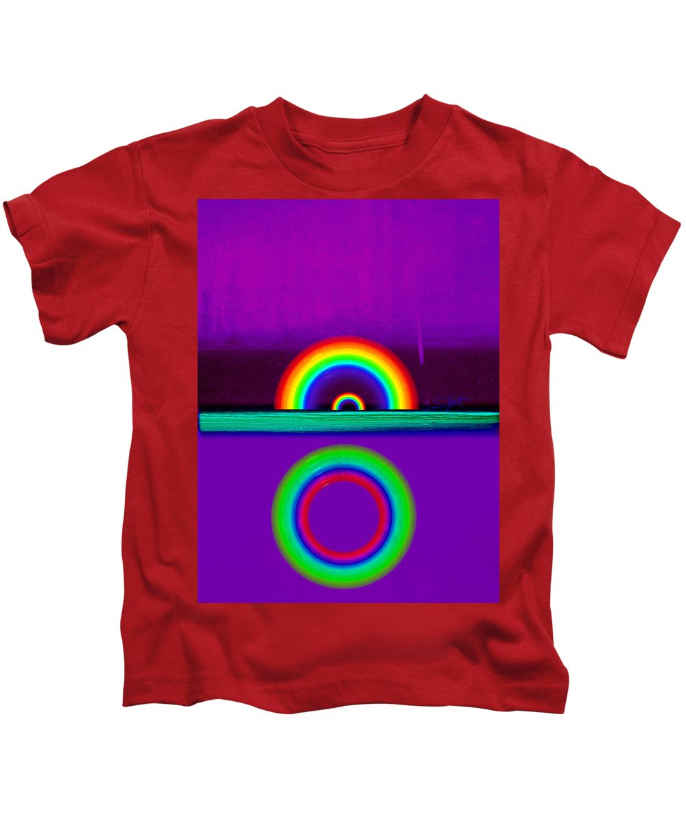 Rainbow Kids T-Shirt featuring the painting Magenta Sunset by Charles Stuart