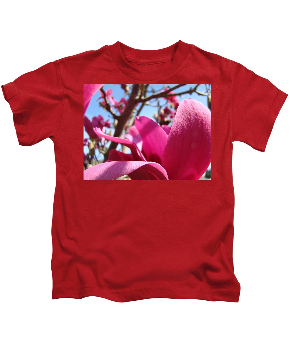Magnolia Kids T-Shirt featuring the photograph Magnolia Tree Pink Magnoli Flowers Artwork Spring by Baslee Troutman