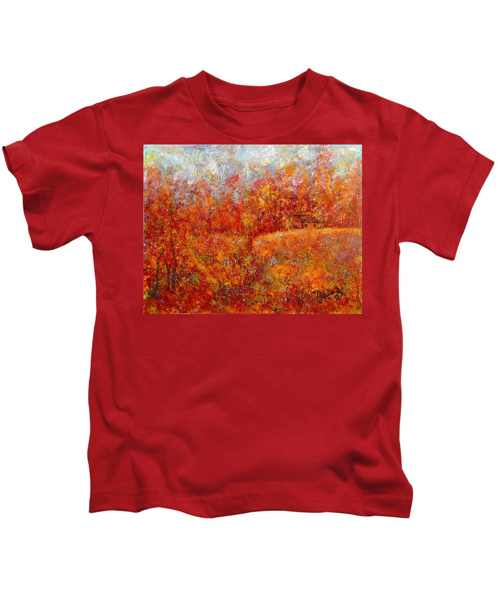 Autumn Kids T-Shirt featuring the painting Majestic Autumn by Natalie Holland