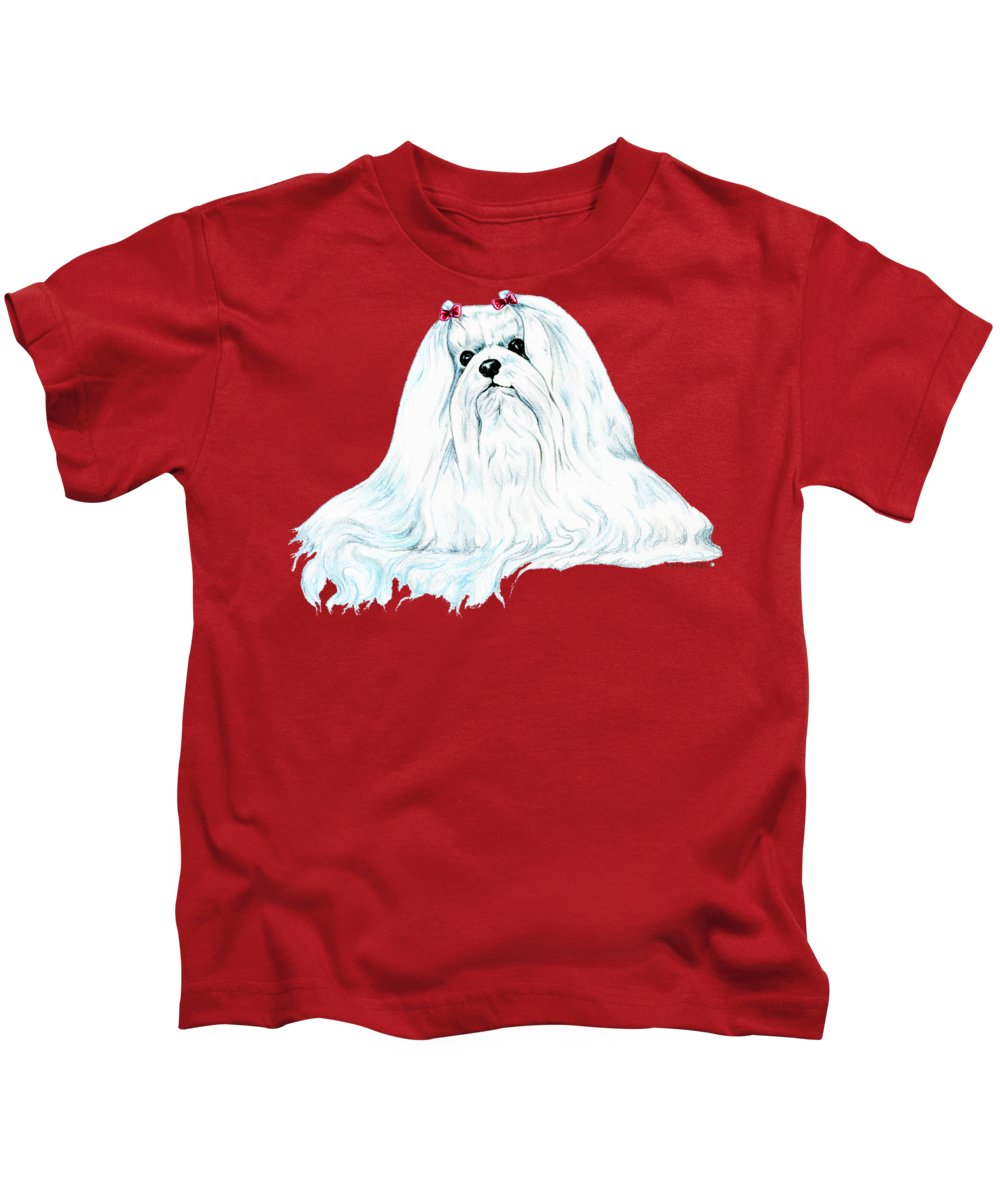 Maltese Kids T-Shirt featuring the drawing Maltese by Kathleen Sepulveda