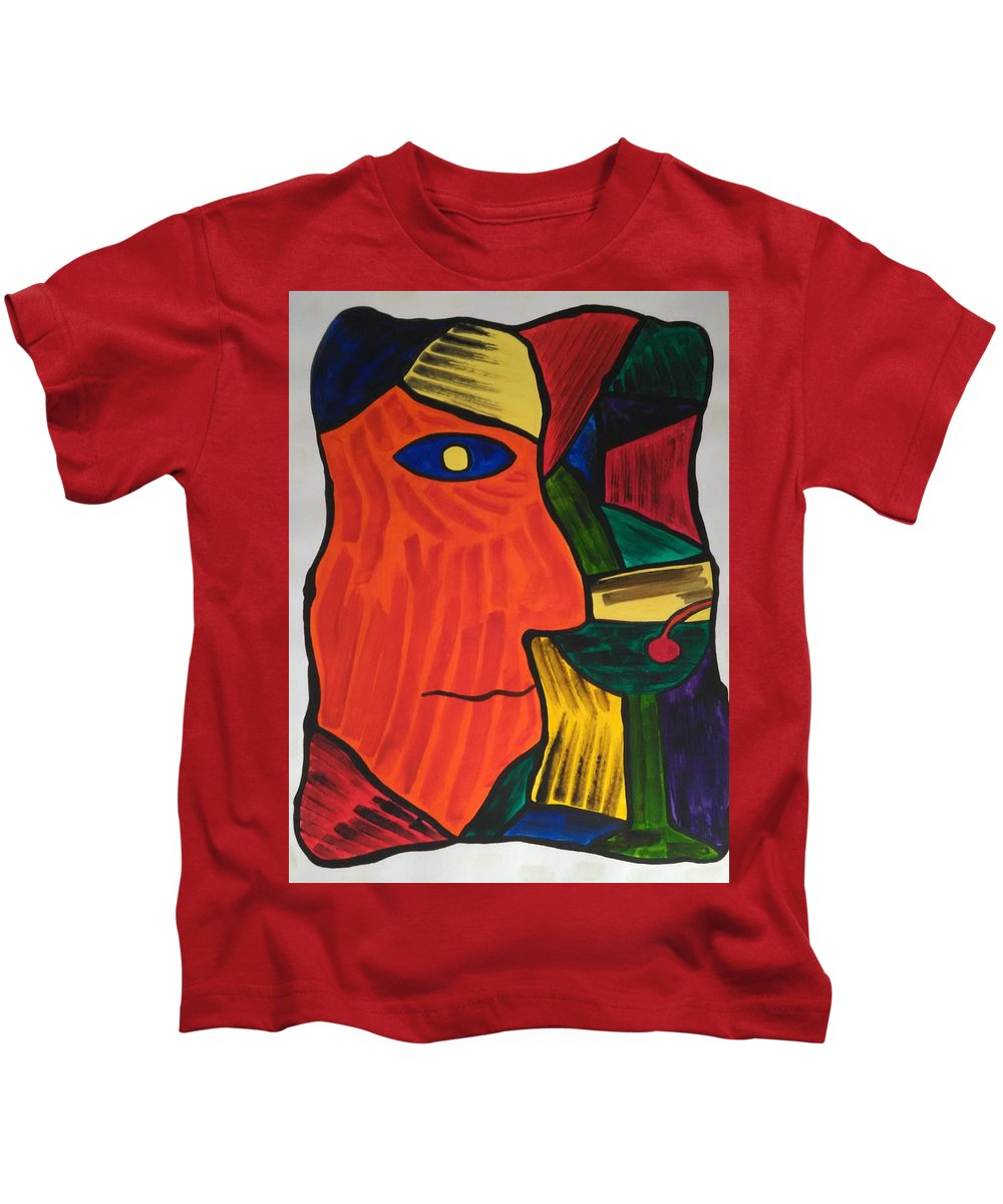 Abstract Kids T-Shirt featuring the painting Man With Martini Glass by Ieva Unda