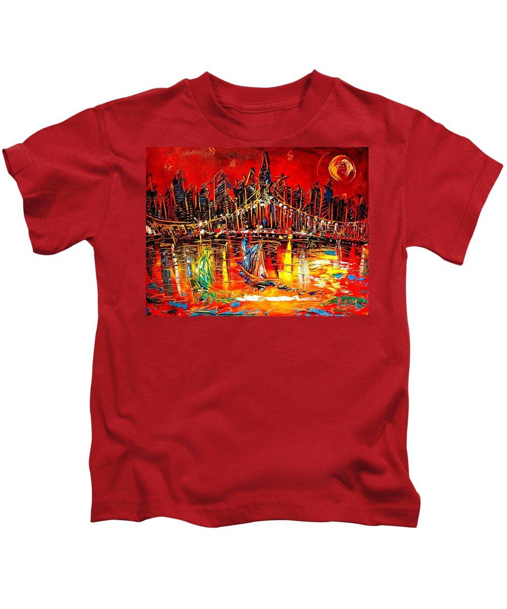 New York Kids T-Shirt featuring the painting Manhattan Red by Mark Kazav