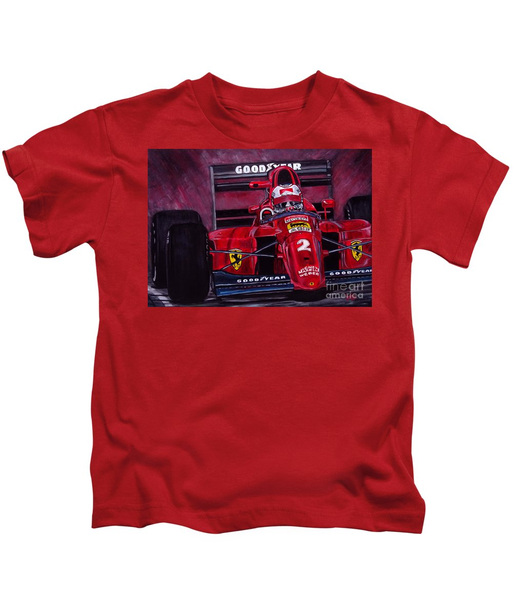 Nigel Mansell Kids T-Shirt featuring the painting Mansell Ferrari 641 by Jose Mendez