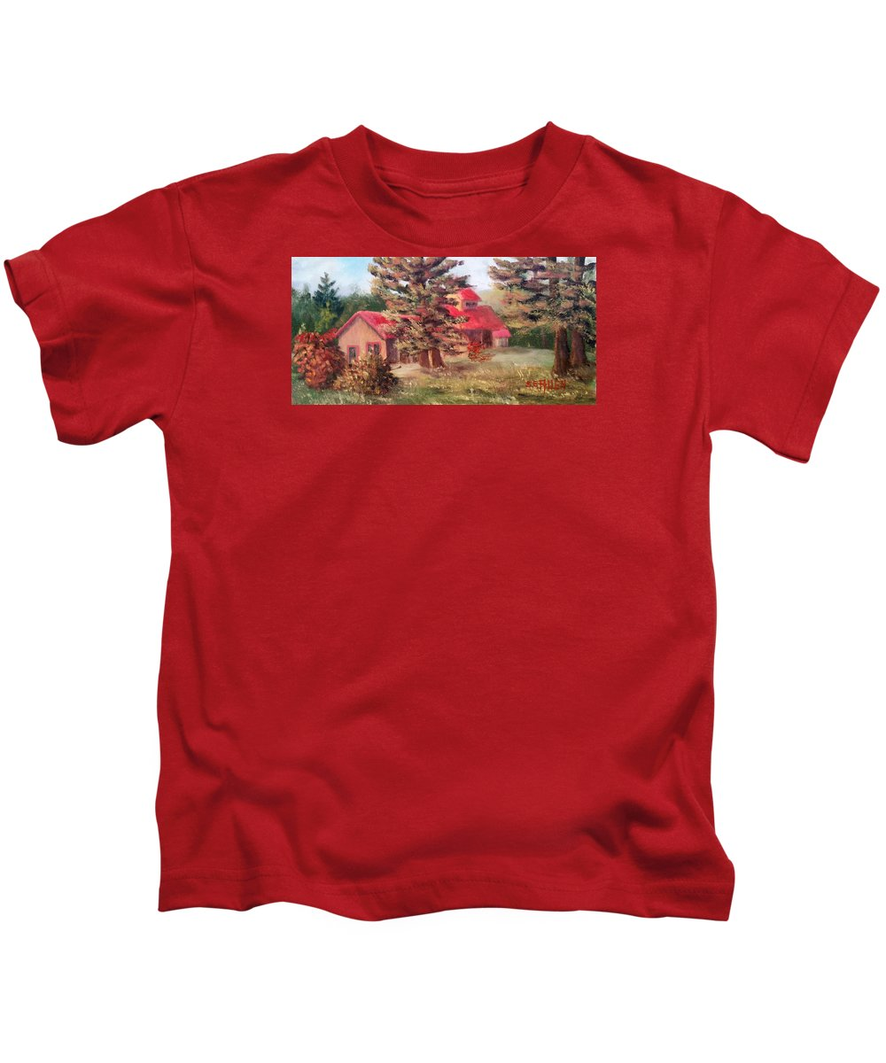 Sugar House Kids T-Shirt featuring the painting Maple Syrup for Sale by Sharon E Allen