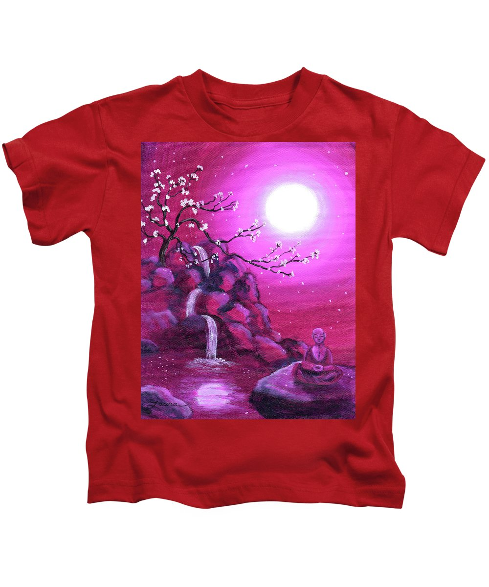 Landscape Kids T-Shirt featuring the painting Meditating While Cherry Blossoms Fall by Laura Iverson