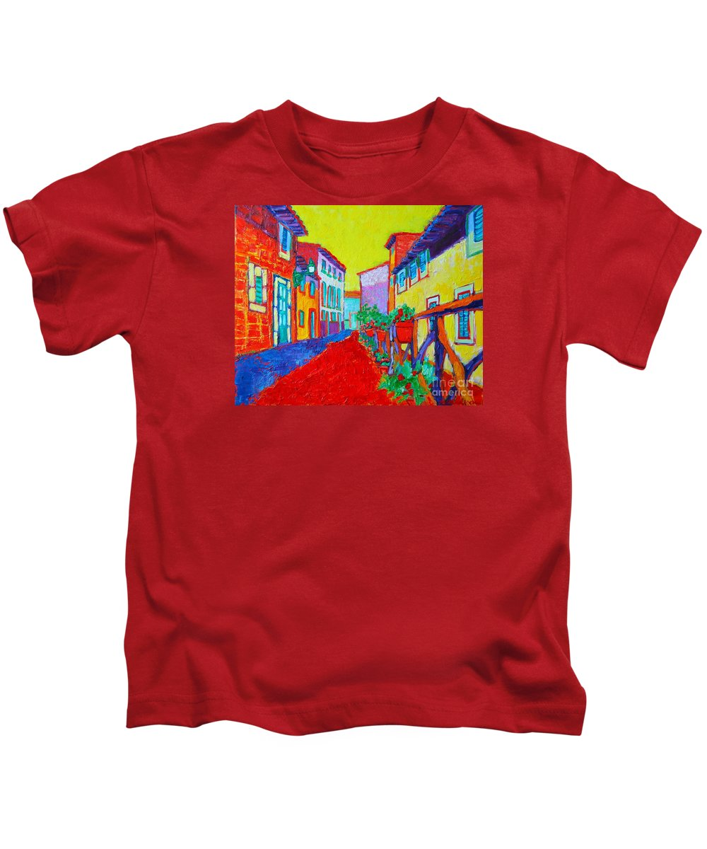 Mallorca Kids T-Shirt featuring the painting Mediterranean Cityscape by Ana Maria Edulescu