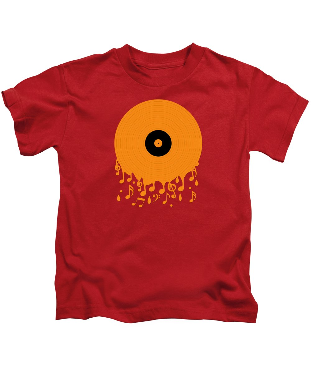 Record Kids T-Shirt featuring the digital art Melting Music by Peter Awax