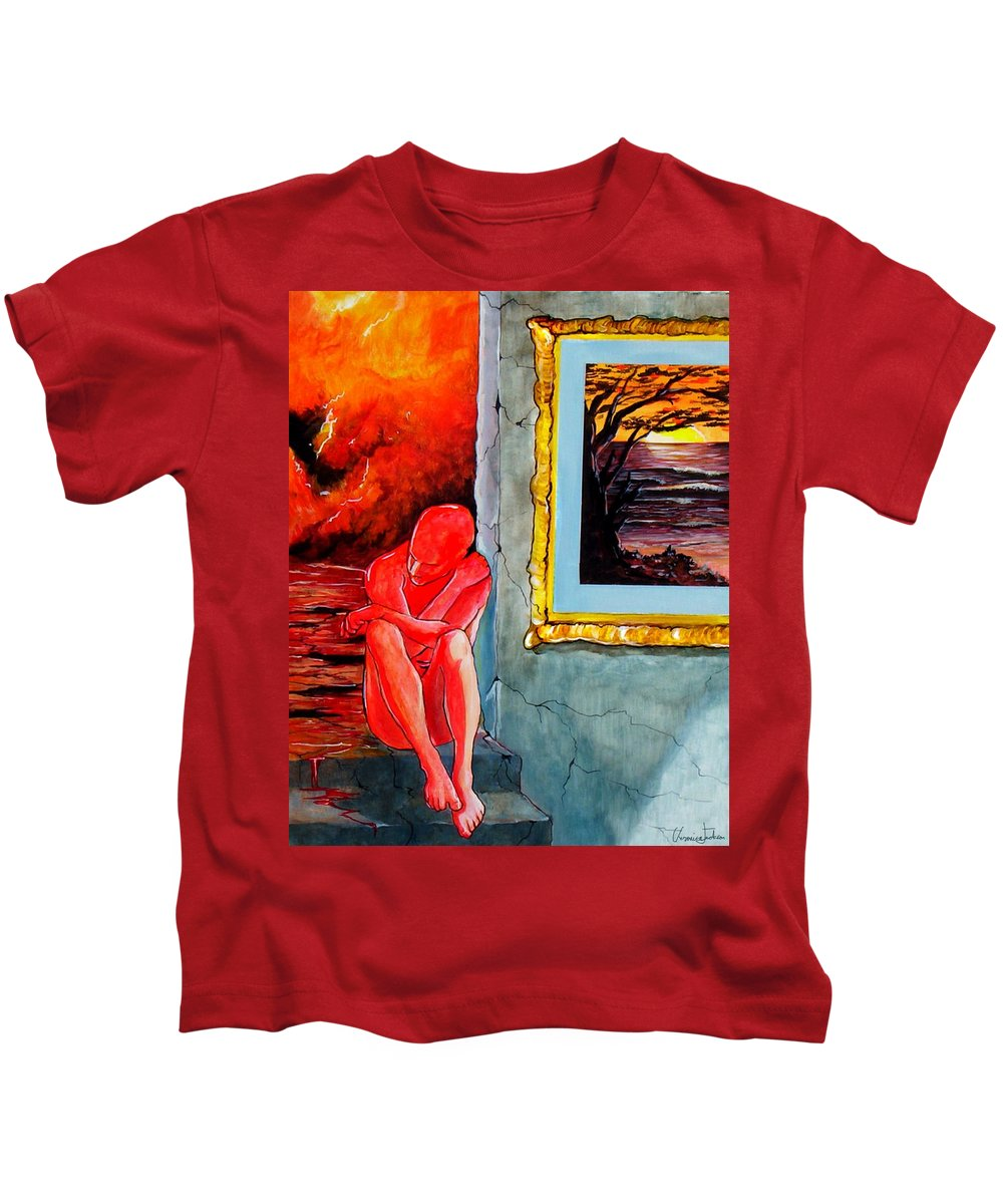 War Sunset Bombs Explosion Wait Loneliness Frustration Kids T-Shirt featuring the painting Memoirs Of A Bloody Sunset by Veronica Jackson