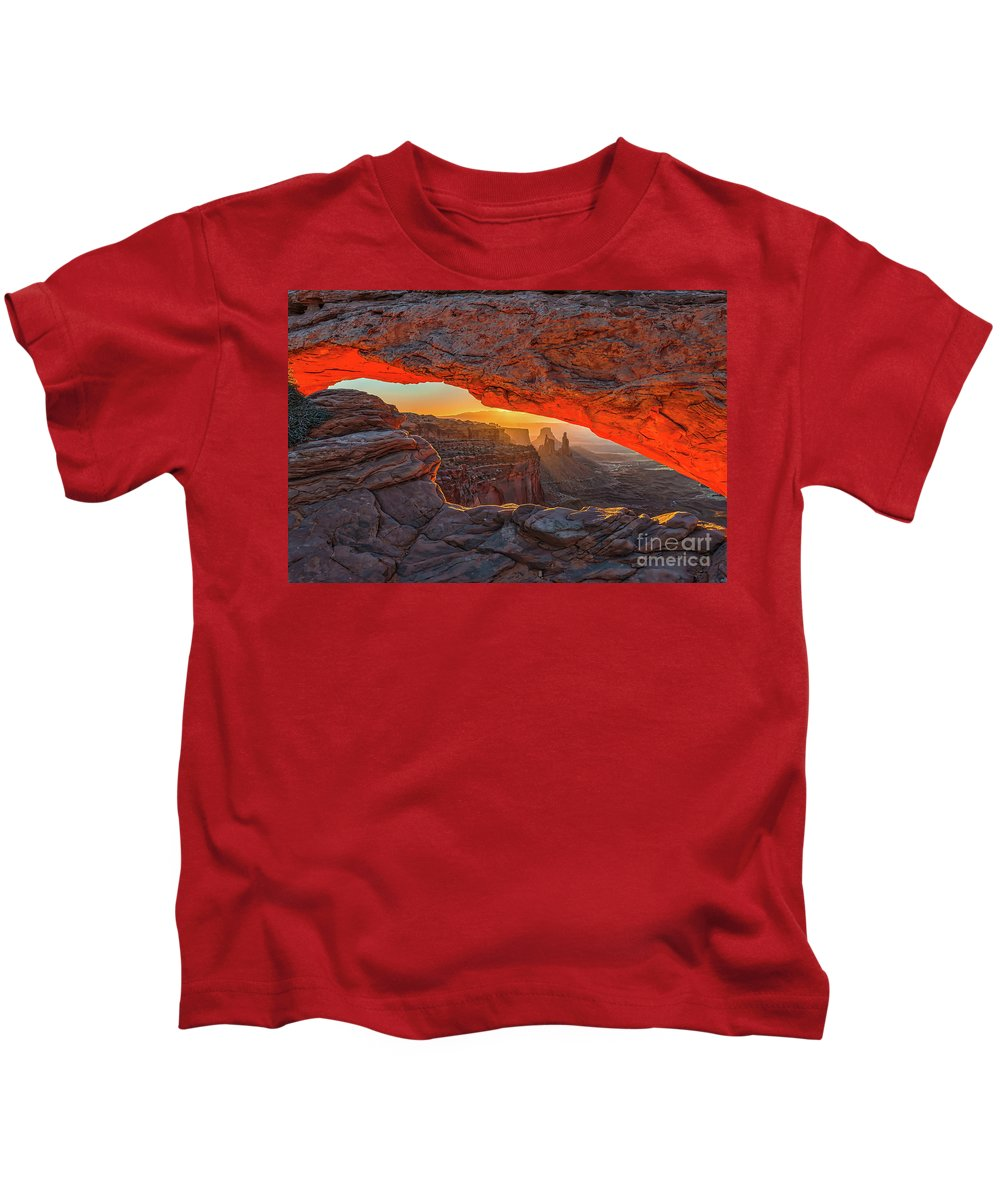 Mesa Arch Kids T-Shirt featuring the photograph Mesa Arch Sunrises Glow by Tod and Cynthia Grubbs