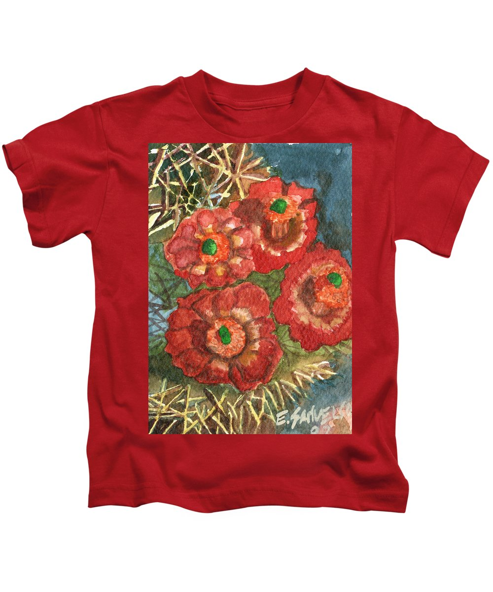 Orange Kids T-Shirt featuring the painting Mexican Pincushion by Eric Samuelson
