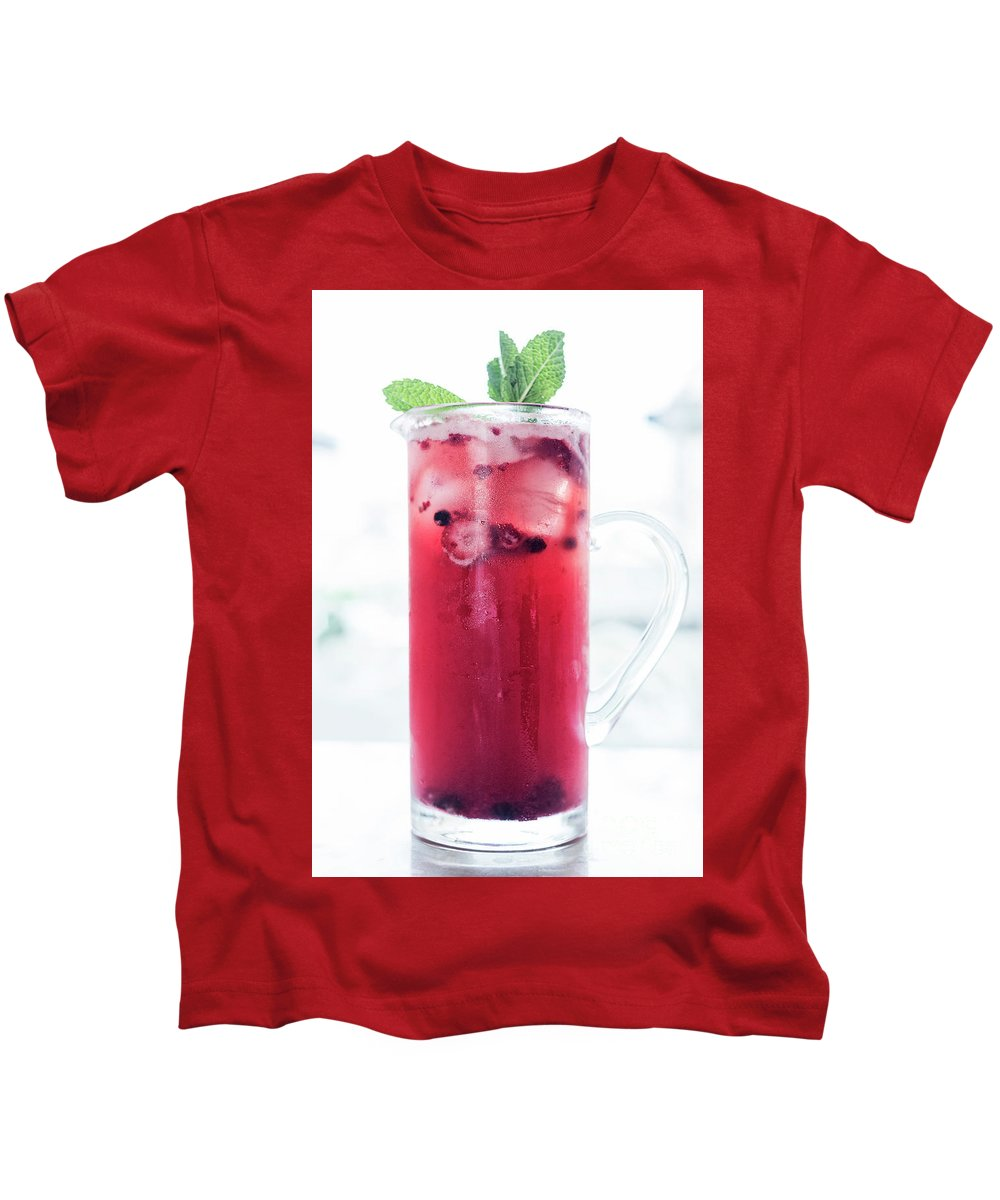 Alcohol Kids T-Shirt featuring the photograph Mixed Red Berries And Wine Sangria Cocktail Jug by Jacek Malipan