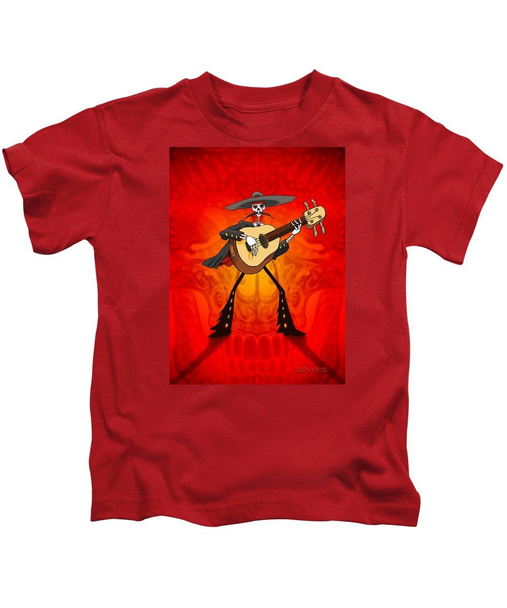 Dia De Los Muertos Kids T-Shirt featuring the digital art Momento Maury by Jephyr Art