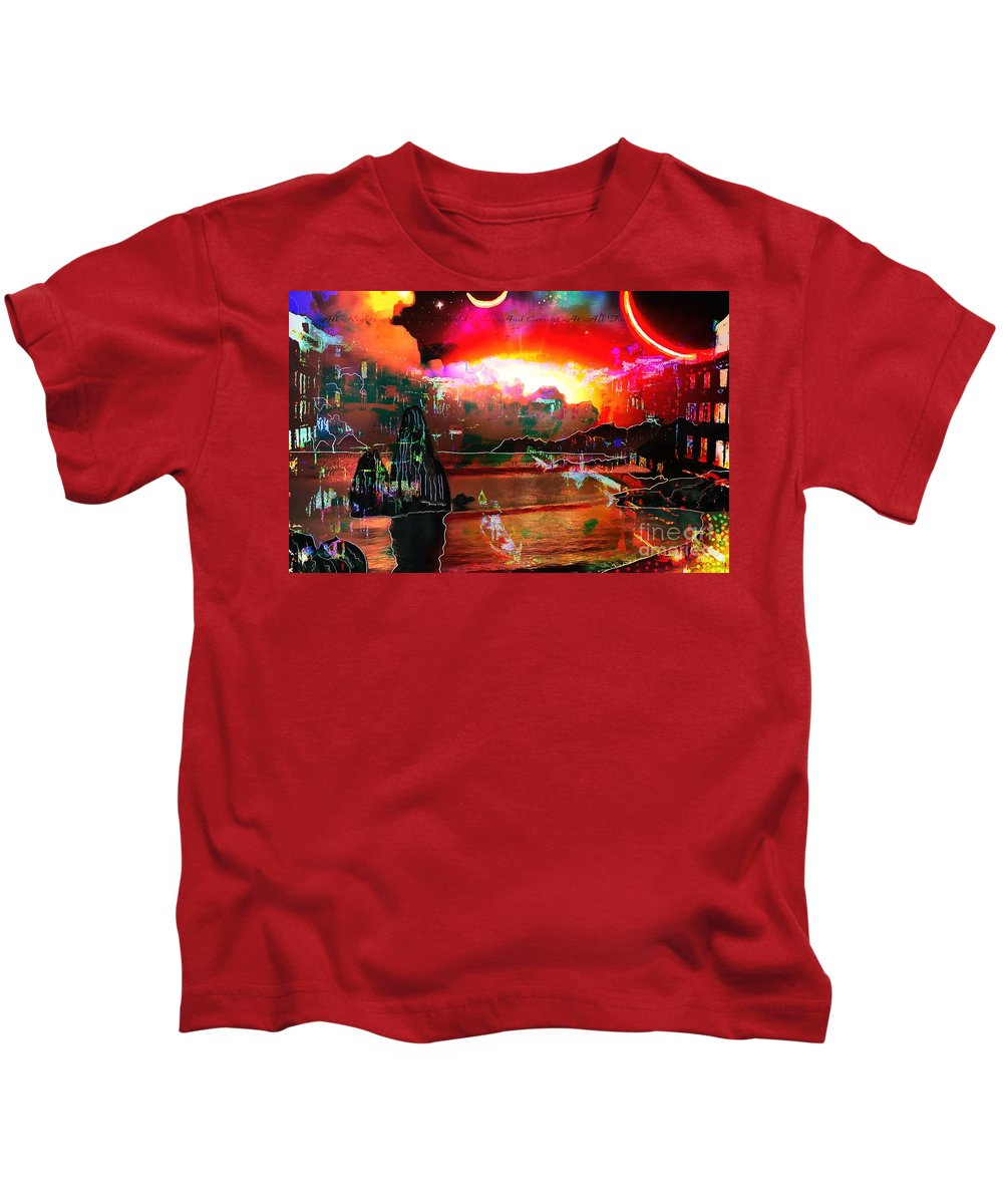 Www.nospankingthemonkey.com Monkey Painted Italy On A Moon Lit Night Kids T-Shirt featuring the painting www.nospankingthemonkey.com Monkey Painted Italy On A Moon Lit Night by Catherine Lott