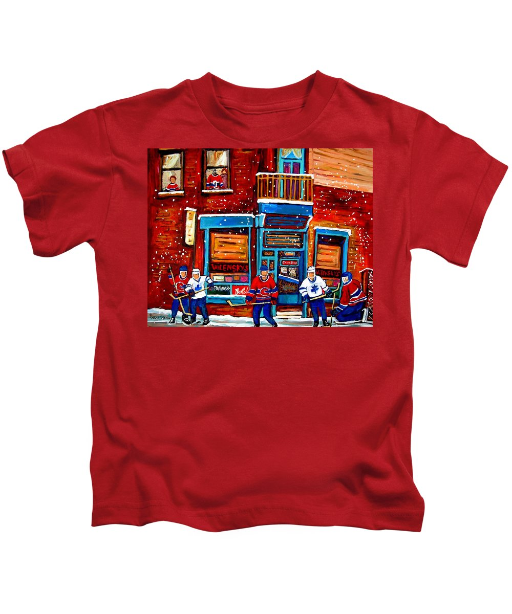Montreal Kids T-Shirt featuring the painting Montreal Wilensky Deli By Carole Spandau Montreal Streetscene And Hockey Artist by Carole Spandau