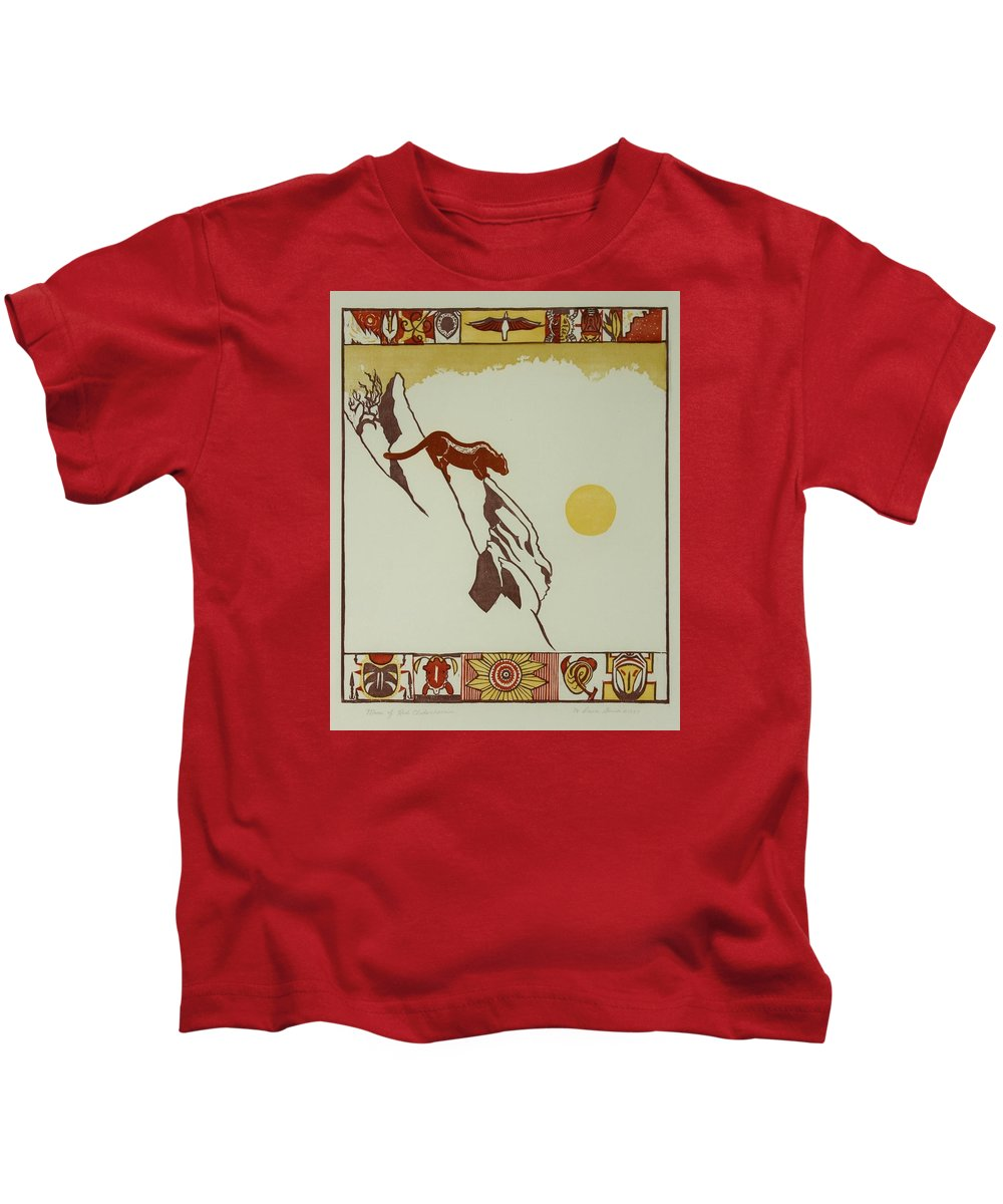 Nature Kids T-Shirt featuring the drawing Moon Of Red Chokecherries by Dawn Senior-Trask