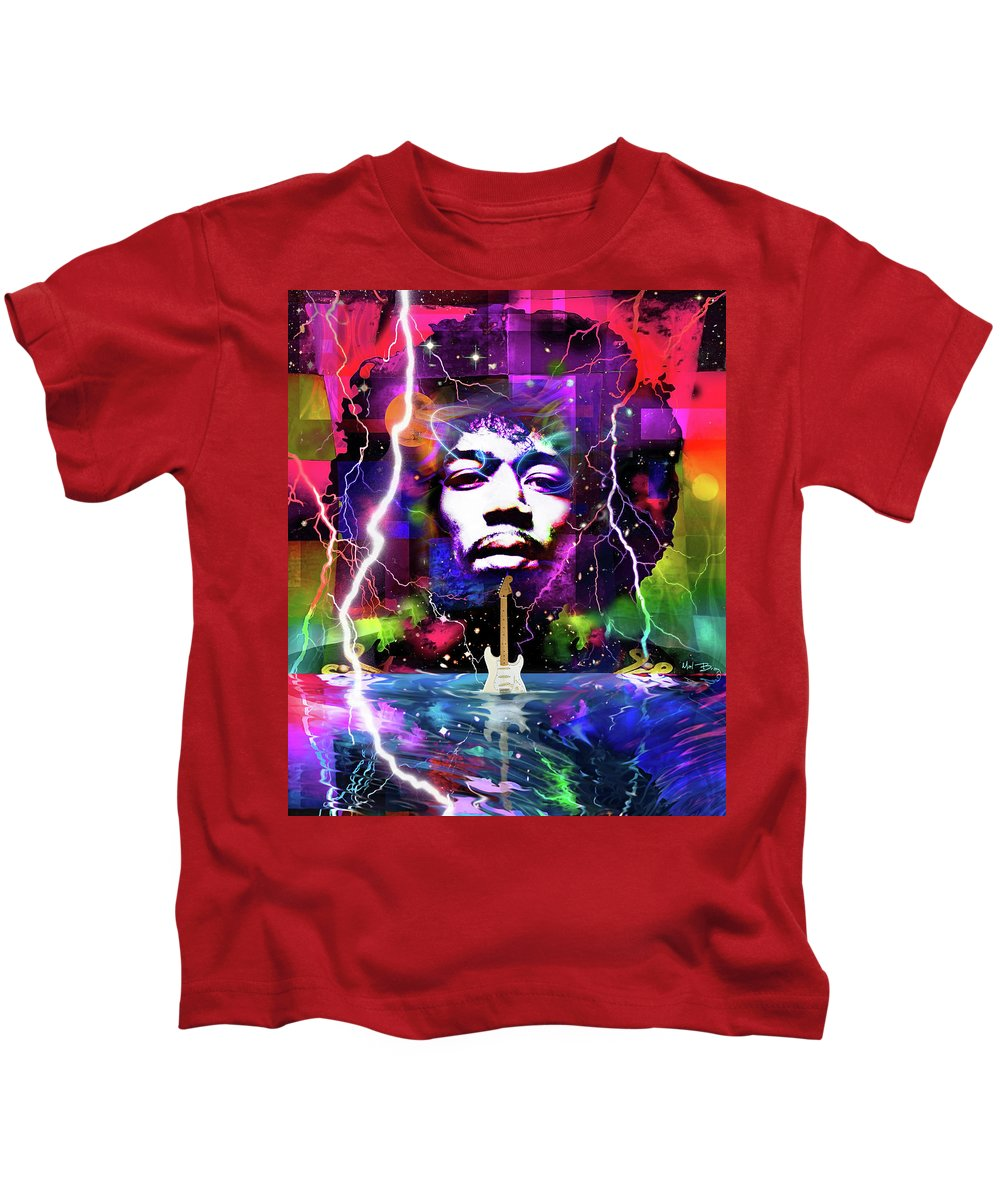 Jimi Hendrix Kids T-Shirt featuring the digital art Moon, Turn The Tides, Gently Gently Away by Mal Bray