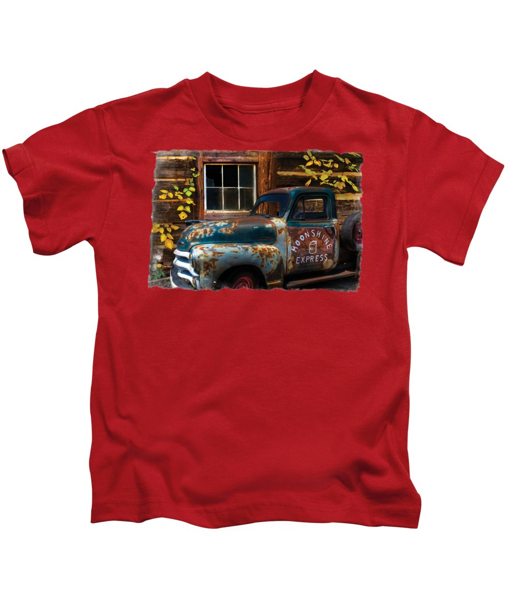 1950s Kids T-Shirt featuring the photograph Moonshine Express Bordered by Debra and Dave Vanderlaan