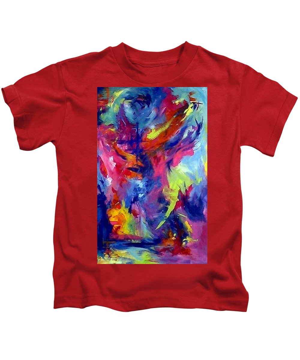 Abstract Kids T-Shirt featuring the painting More by Melody Horton Karandjeff