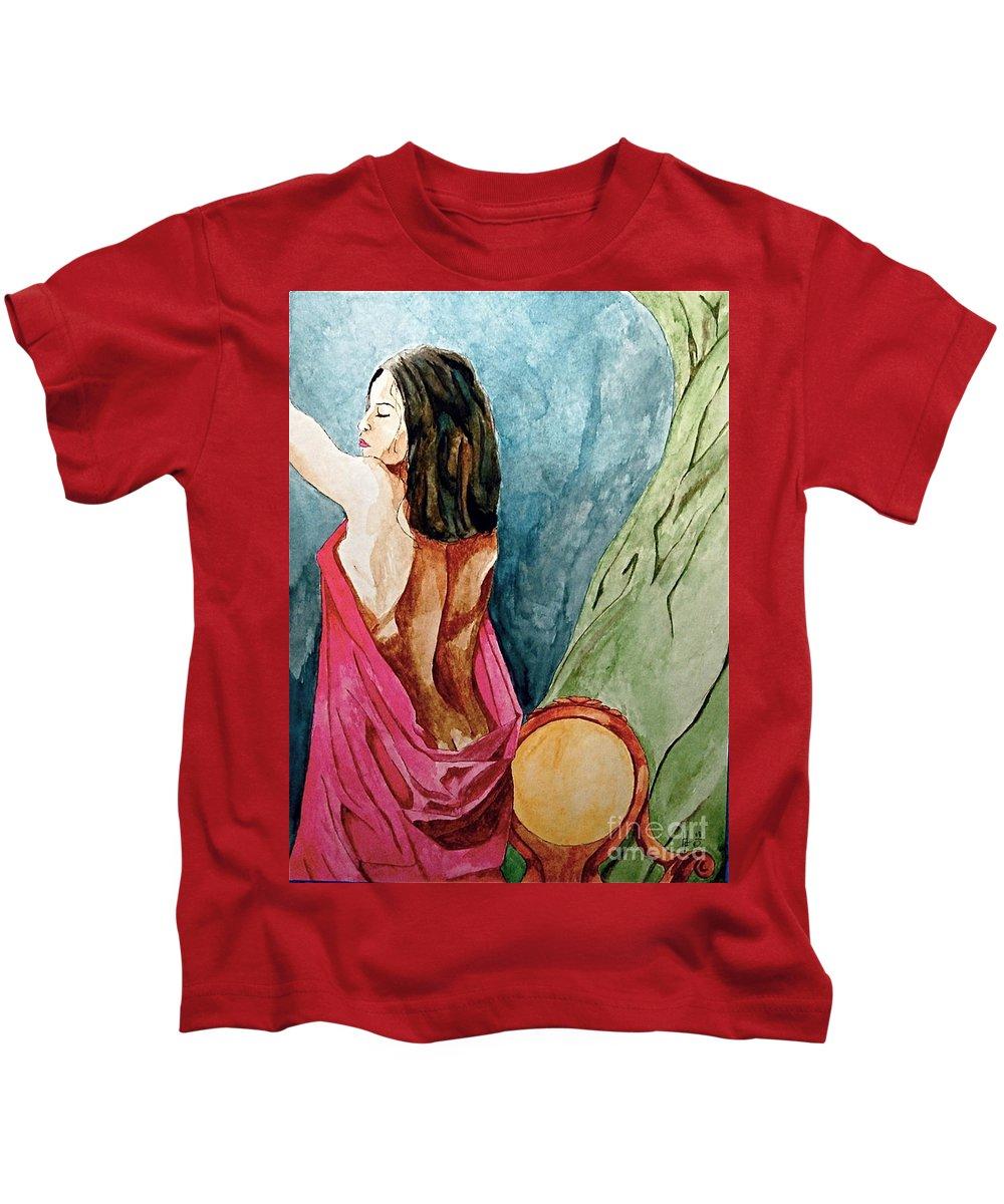 Nudes Women Kids T-Shirt featuring the painting Morning Light by Herschel Fall