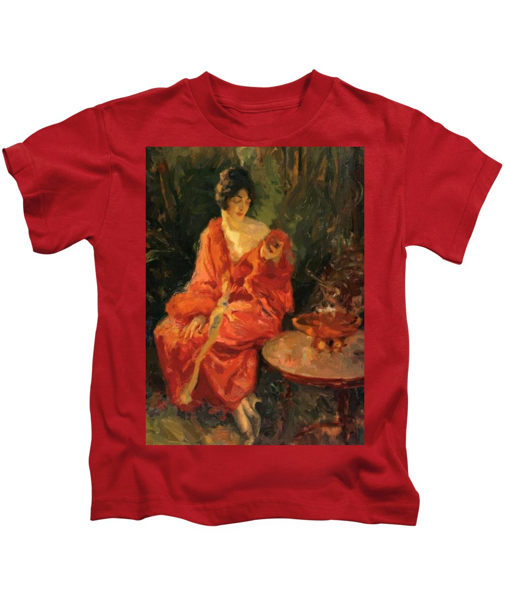 Morning Kids T-Shirt featuring the painting Morning Reflections 1910 by Reid Robert Lewis