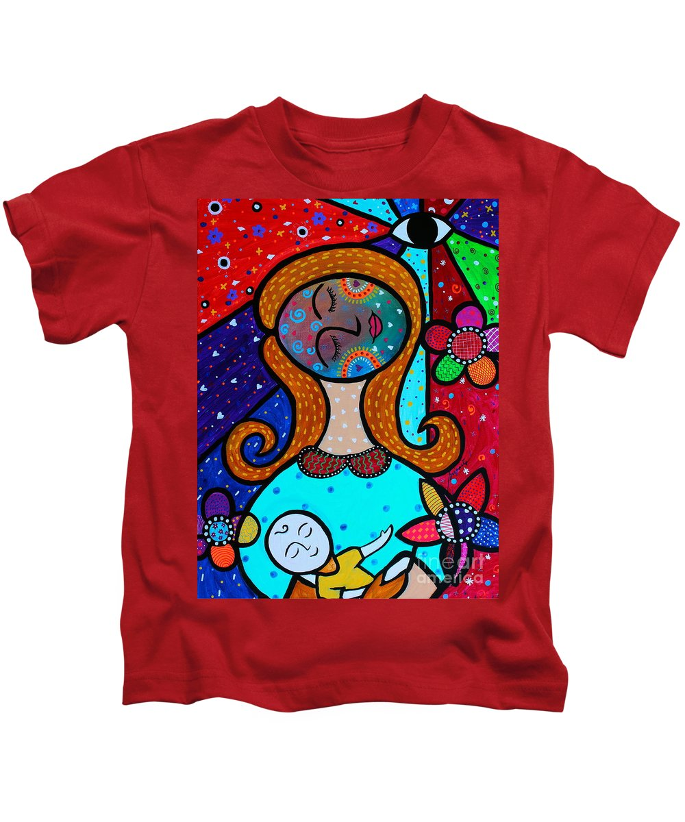 Mother And Child Kids T-Shirt featuring the painting Mother And Child Vii by Pristine Cartera Turkus