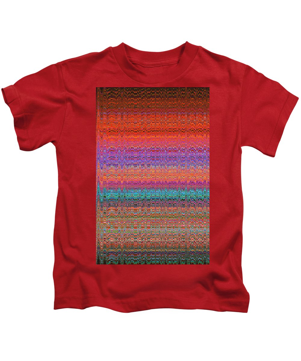 Moveonart! Digital Gallery Kids T-Shirt featuring the digital art Moveonart Future Indian Voice Wave Quilt by Jacob Kanduch