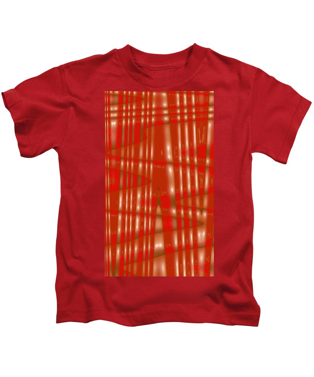 Moveonart! Digital Gallery Lower Nob Hill San Francisco California Jacob Kanduch Kids T-Shirt featuring the digital art Moveonart Red Gold Protection by Jacob Kanduch