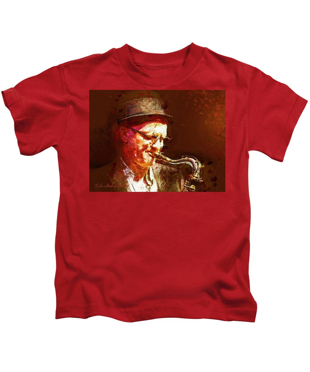 Digital Kids T-Shirt featuring the painting Music - Jazz Sax Player With A Hat by Arthur Babiarz
