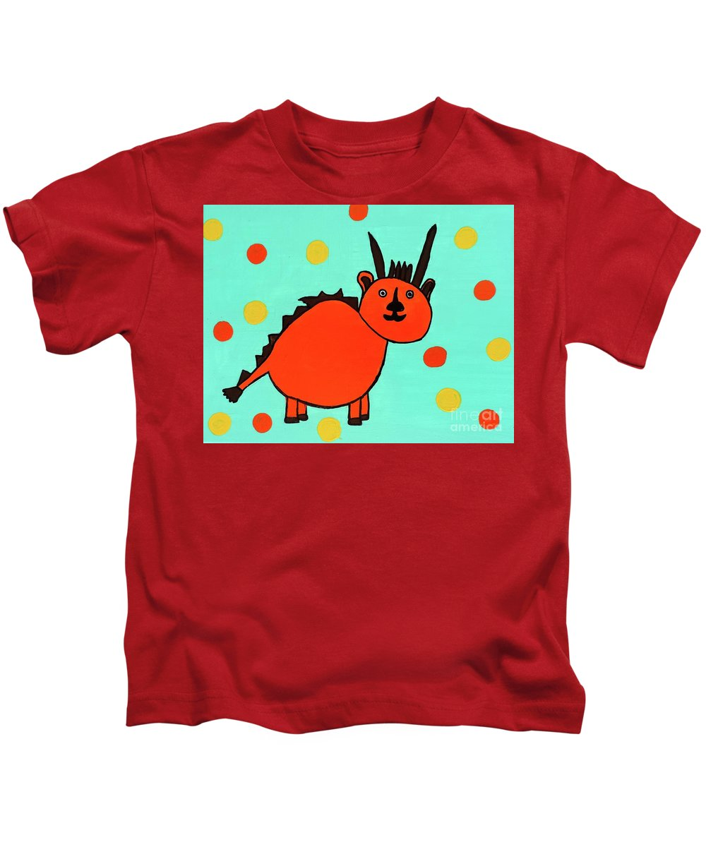 Mythical Creature Kids T-Shirt featuring the painting Mwueiy by Sean Brushingham